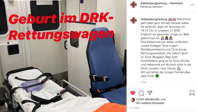 Instagram Geburt Rettungswagen Hamburg